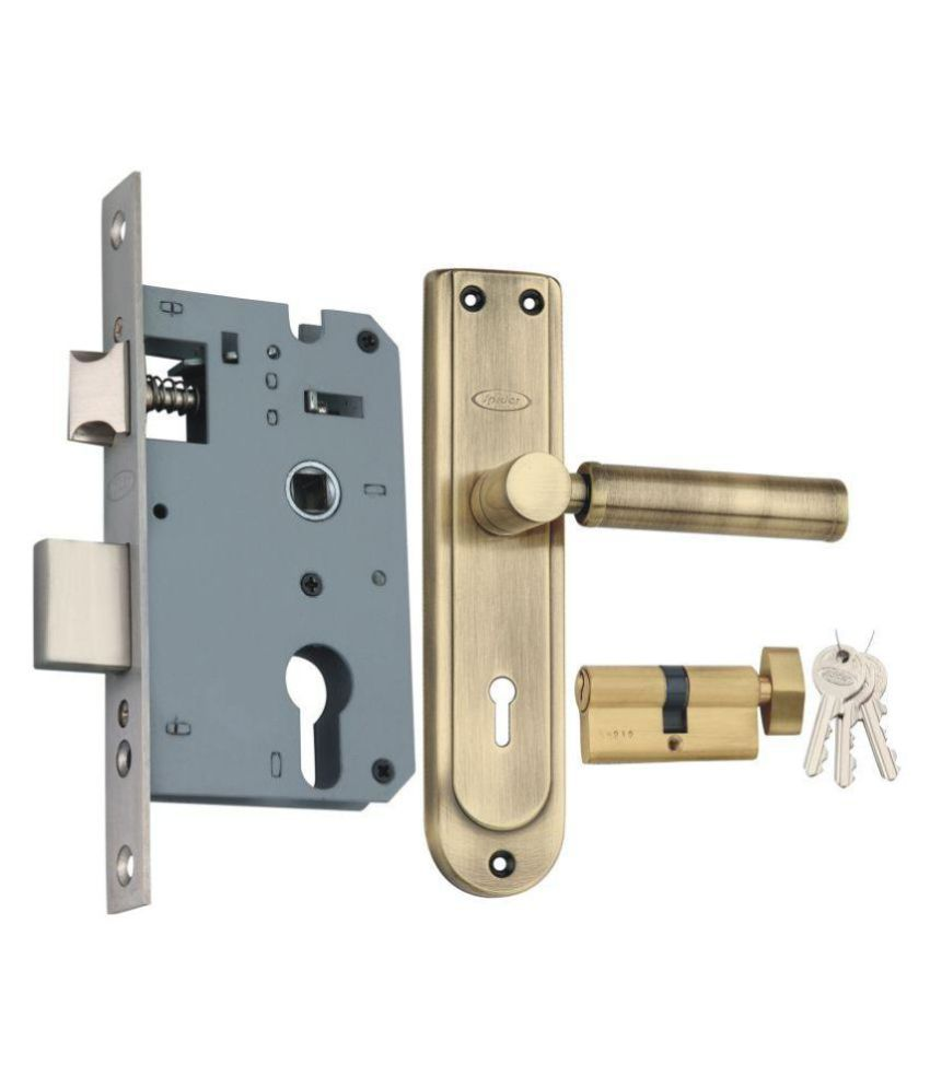 Spider Steel Mortise Cylindrical Lock Complete Set (One Side Knob & One Side Key) With Antique Brass Finish (SZ01SAB + SCLZBRA)