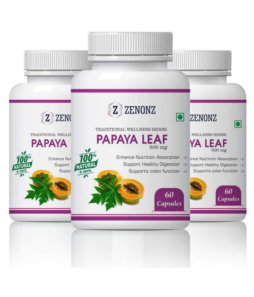 zenonz Natural Herbs Pure Papaya Leaf Capsule 500 mg Pack of 3