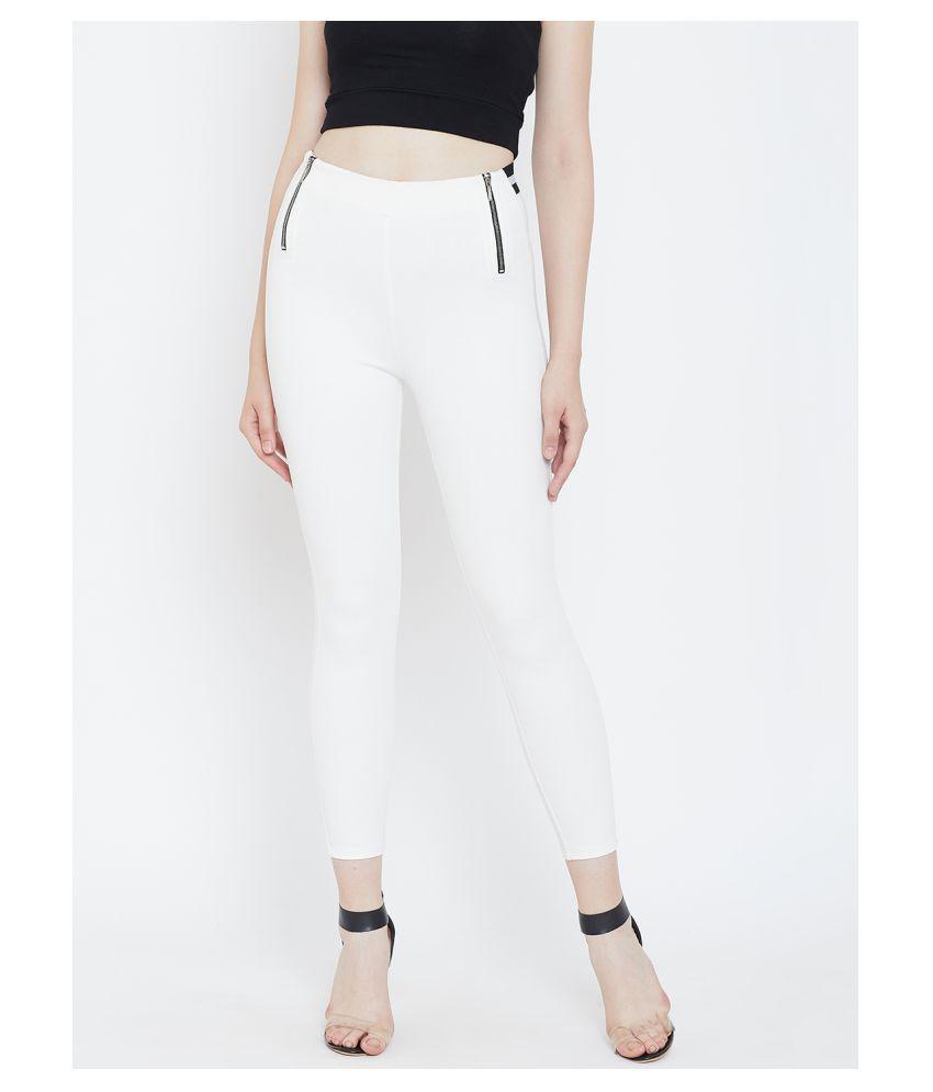TRIYAA RAS Cotton Lycra Jeggings - Off White