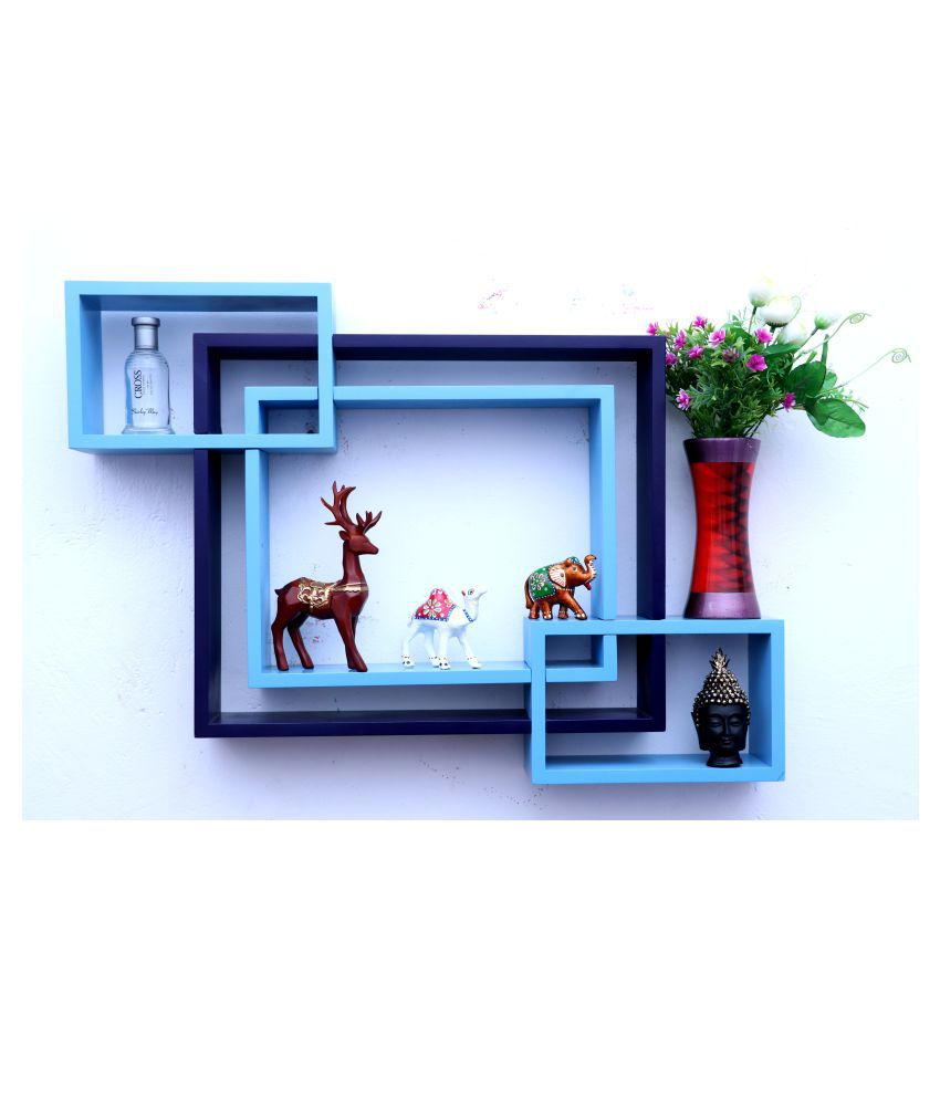 WOOD WORLD mdf wall mount shelf 4  Intersecting shape Wall Shelves Rack – skyblue-blue