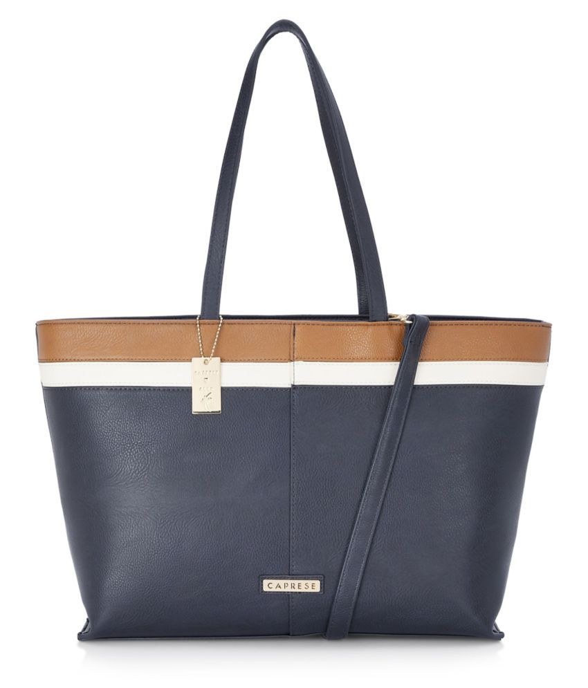 Caprese Navy Faux Leather Tote Bag