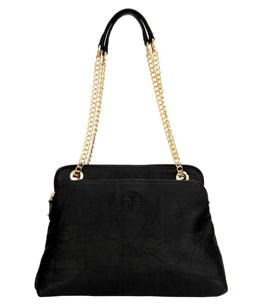 JL Collections Black Pure Leather Shoulder Bag
