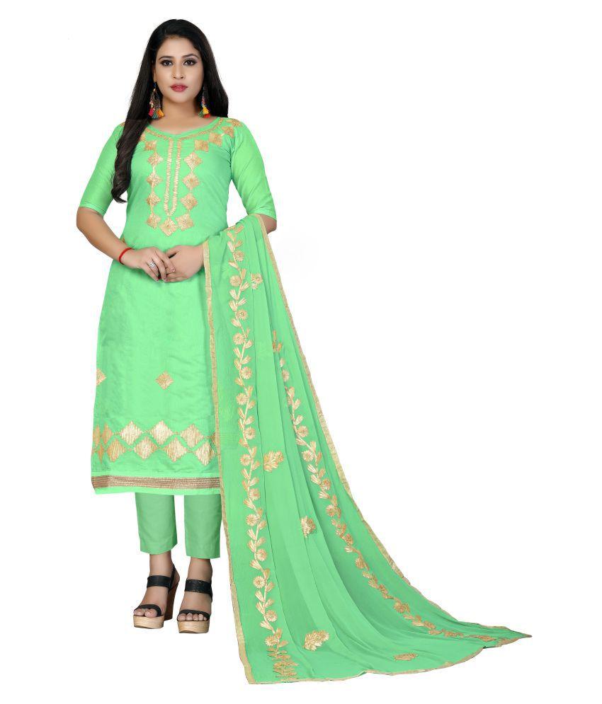 Maroosh Green Cotton A-line Semi-Stitched Suit