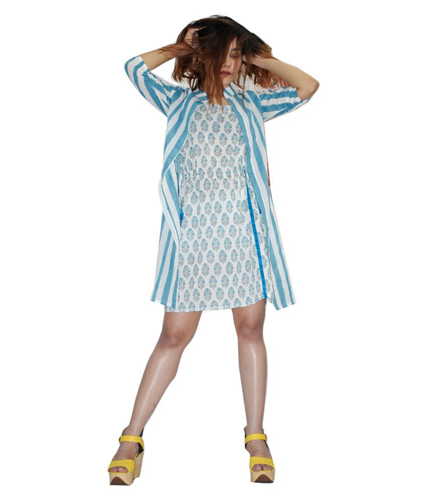Rajneeral Babutta Group Cotton Blue A- line Dress