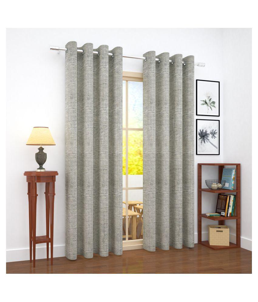 Story@Home Single Door Blackout Room Darkening Eyelet Jute Curtains Grey