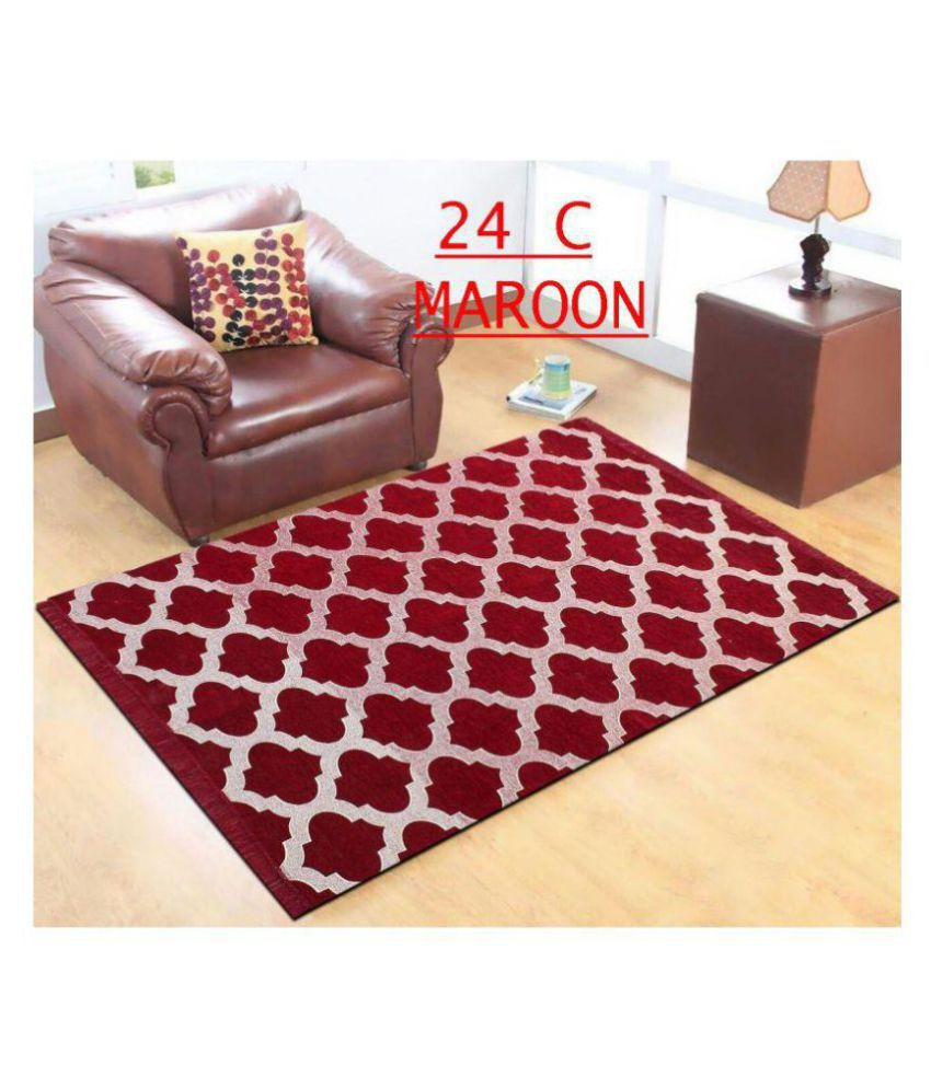 Kaizen Decor Maroon Chenille Carpet Ethnic 5x7 Ft
