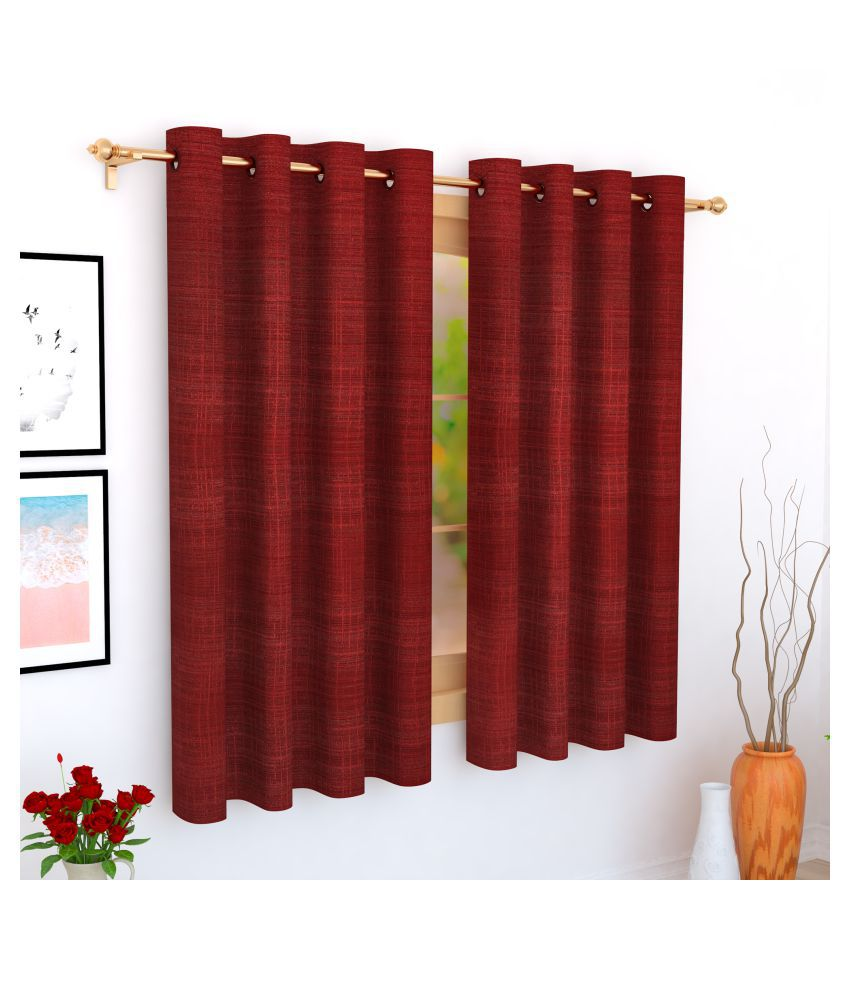 Story@Home Single Window Blackout Room Darkening Eyelet Jute Curtains Maroon