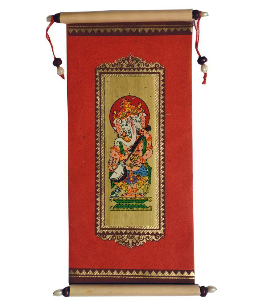Village Kraft Handmade Paper, Palm Leaf and Cane Stick Red Gift Envelope, Party Festivals, Gifts, Shagun, Cash, Diwali, Wedding, Marriage, Envelope (17.78 x 8.89cm) (Pack of 10)