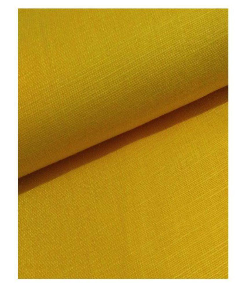 NS Fabric Yellow Cotton Blend Unstitched Shirt pc
