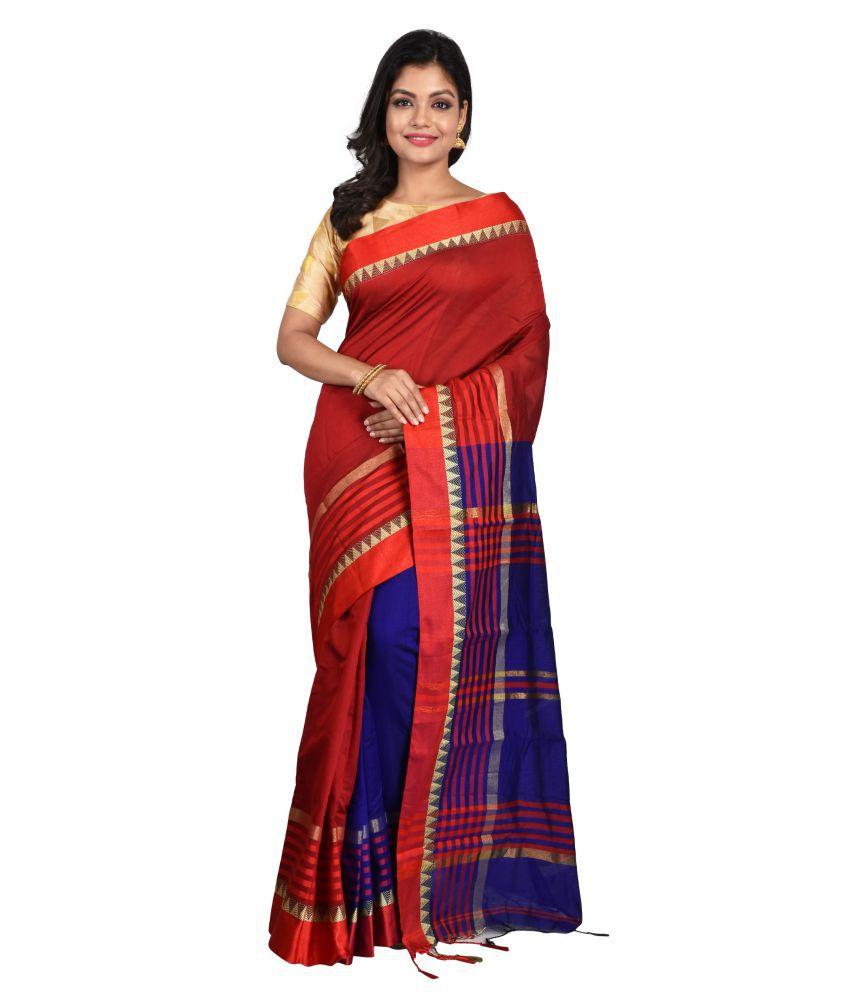 Ghosh Garments Brown,Blue Cotton Blend Saree
