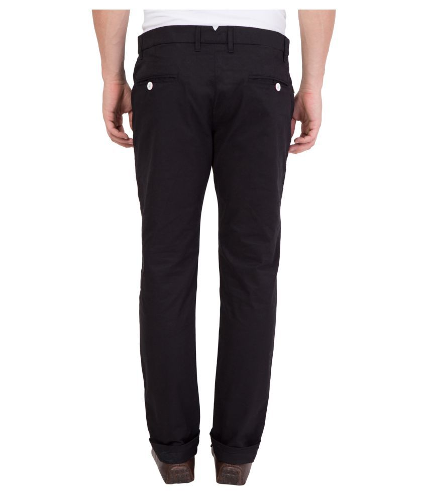 MIMP Black Slim -Fit Flat Chinos