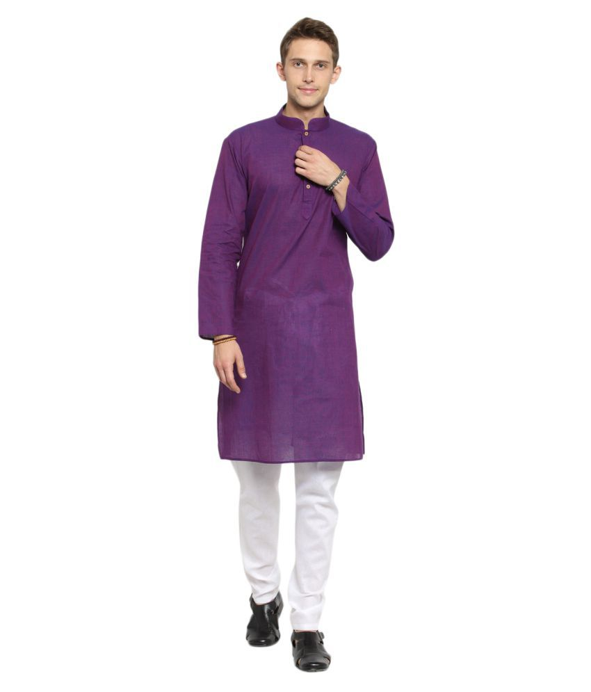 RG Designers Purple Cotton Kurta Pyjama Set Pack of 1