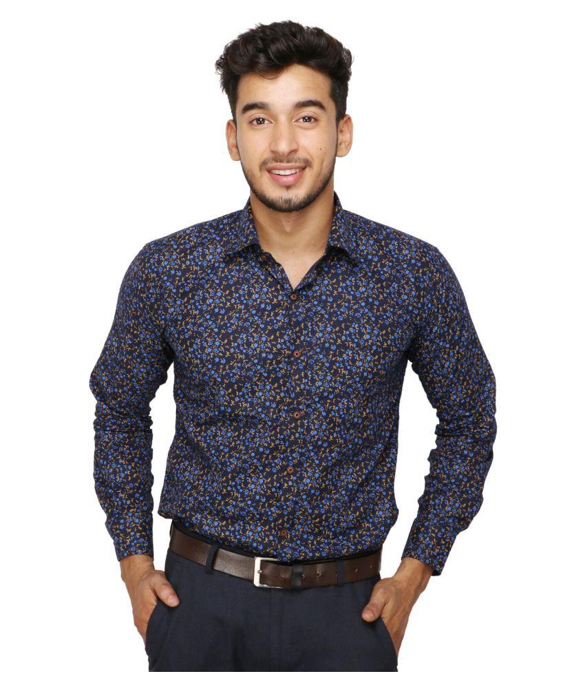 Koxko 100 Percent Cotton Black Prints Shirt