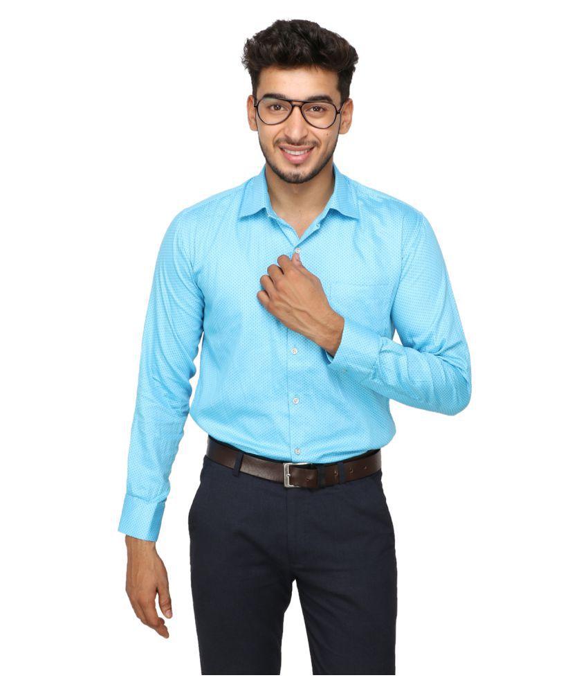 Koxko 100 Percent Cotton Blue Prints Shirt