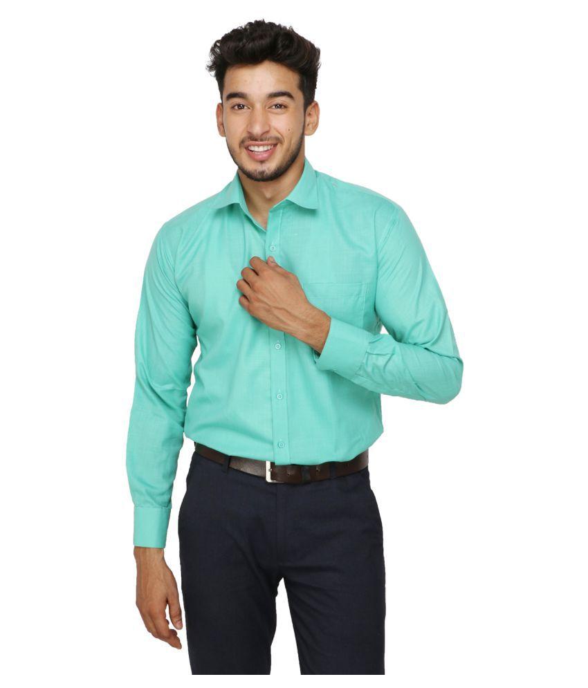 Koxko 100 Percent Cotton Green Solids Shirt