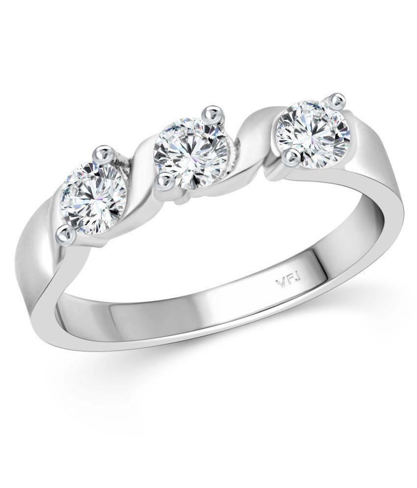 Vighnaharta Twisted Three Diamond CZ Rhodium Plated Alloy Ring for Women and Girls-[VFJ1506FRR10]
