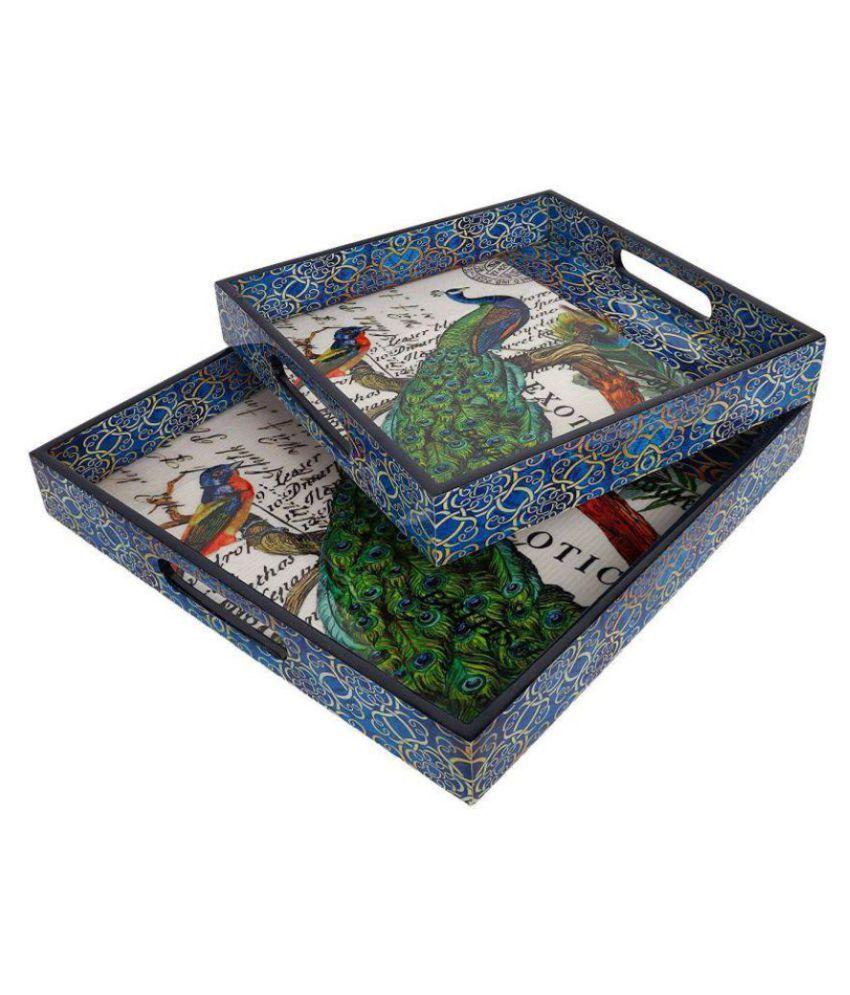 KolorFish Designer MDF Wooden Serving Trays Set   Set of 2 Trays   with Special Enamel Coating (Peacock)