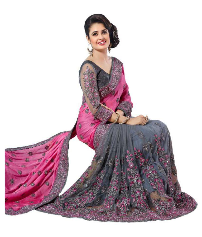 Pahal Fashion Pink Velvet Saree