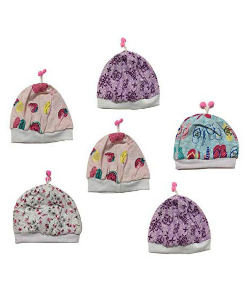 Cute Collection- Cotton Cap for New Born Baby (0-6 months, 6 pieces)