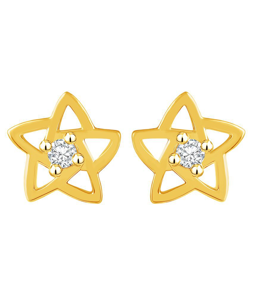 MFJ Fashion Graceful Star Design Brass 1 Gram Gold Plated American Diamond Stud Earring For Women