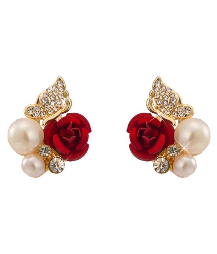 Mizorri Luxury Gold Plated Red Rose Rhinestones Butterfly Pearl Earrings