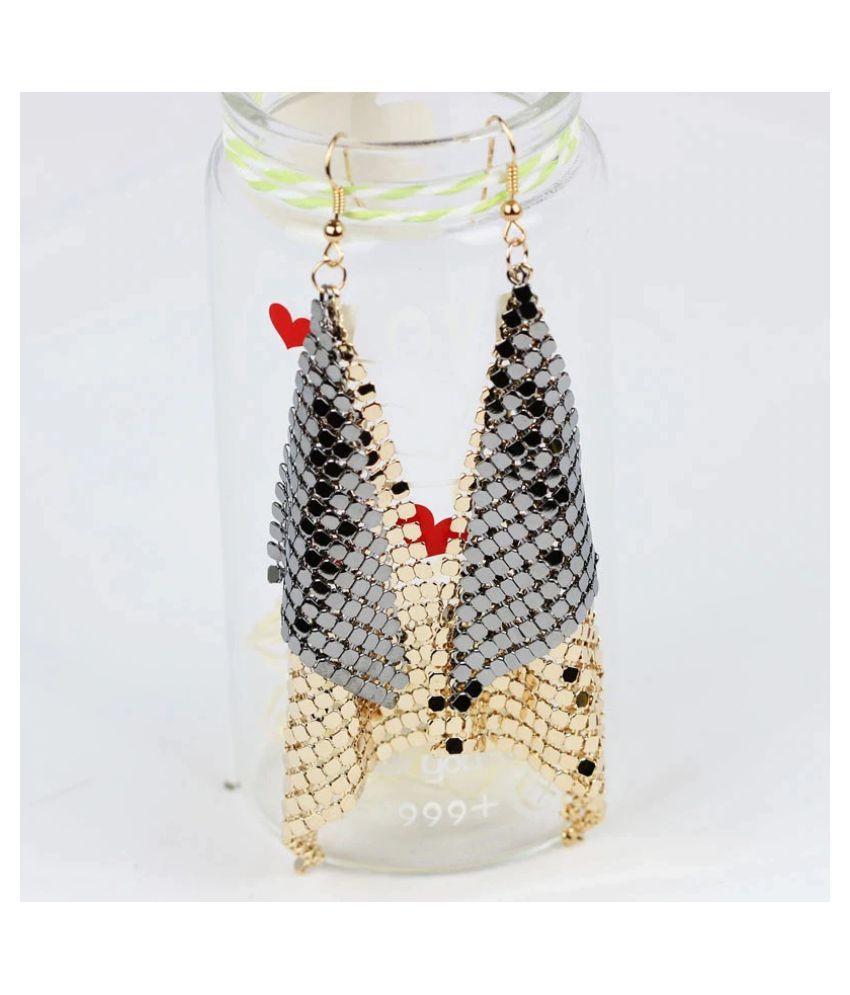 Mizorri Vintage Triangle Big Sequin Exaggerated Dangle Earrings
