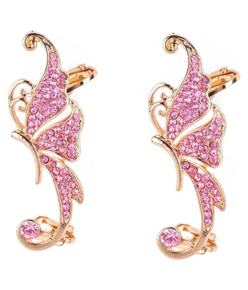 Mizorri Luxury Elegant Rose Gold Stud Butterfly  Rhinostone earrings