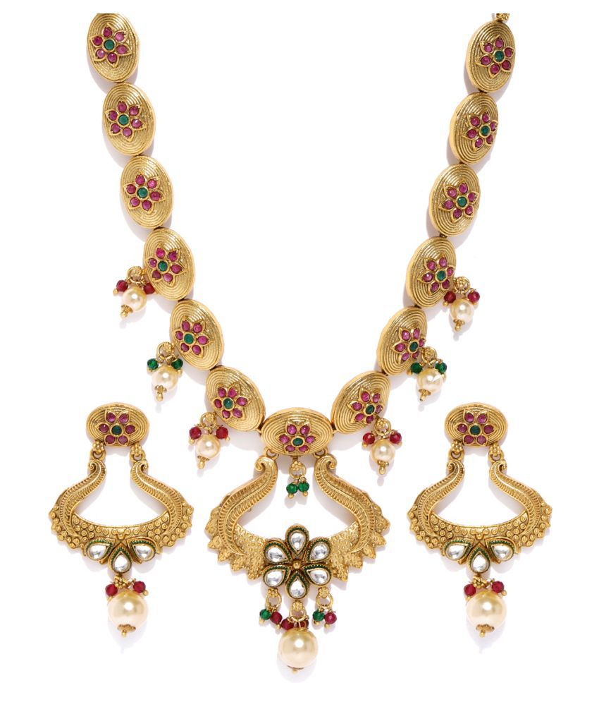 Sukkhi Alloy Multi Color Collar Traditional 18kt Gold Plated Necklaces Set