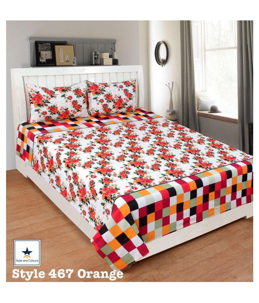 Laying Style Cotton Double Bedsheet with 2 Pillow Covers