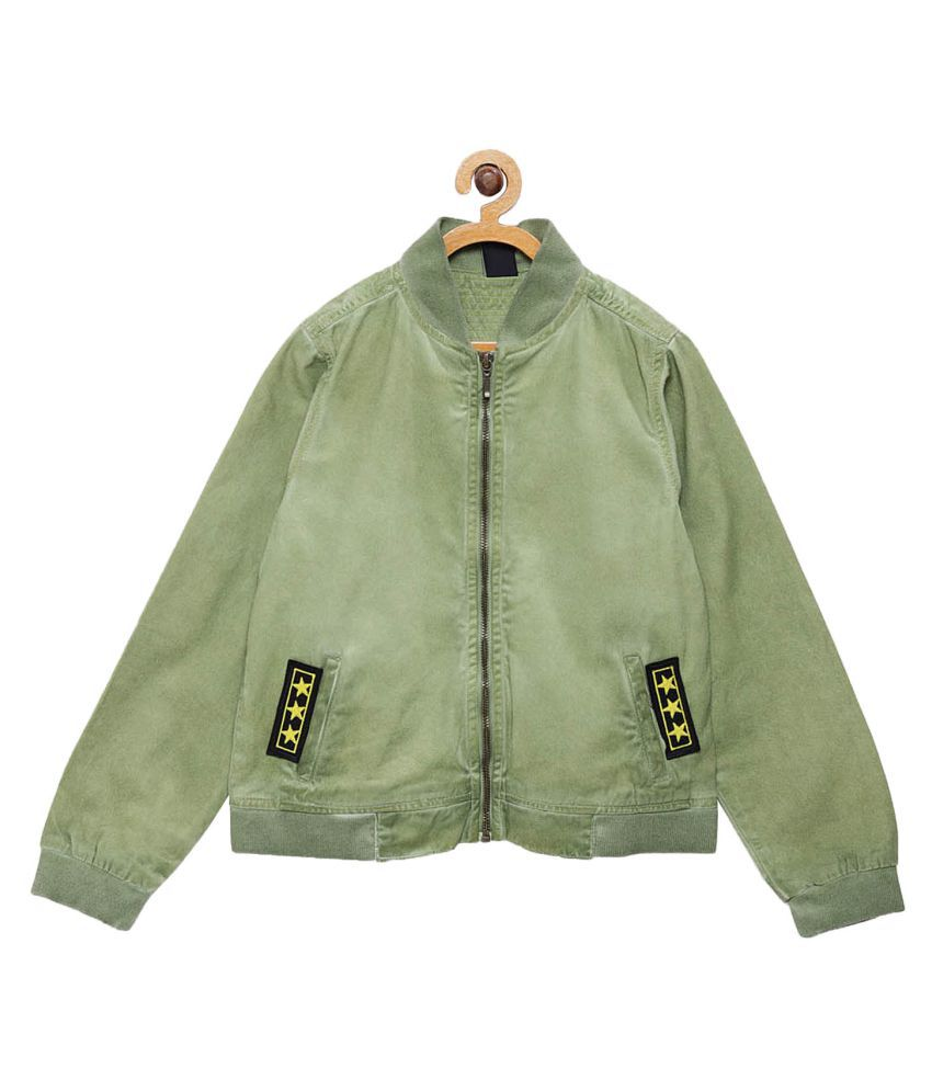 Tales & Stories Boys Green Solid Lightweight Bomber Jacket