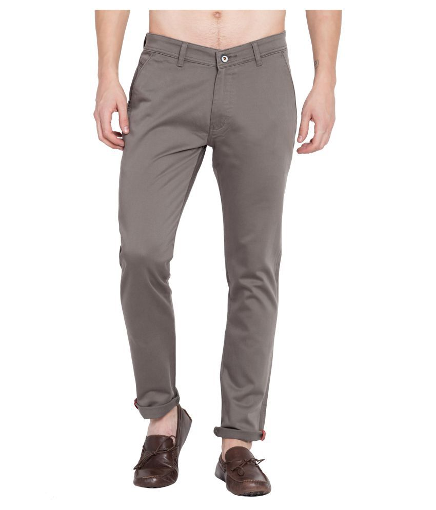 MIMP Olive Green Slim -Fit Flat Chinos