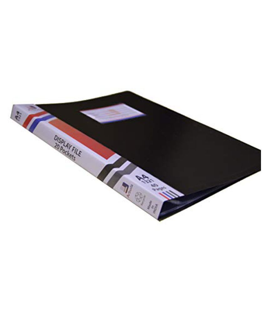 Display Book,Arbuda,Clear Folder Plastic File Display Presentation Book, 20 Pockets, Black Colour,Pack of 4 nos. A4 Size