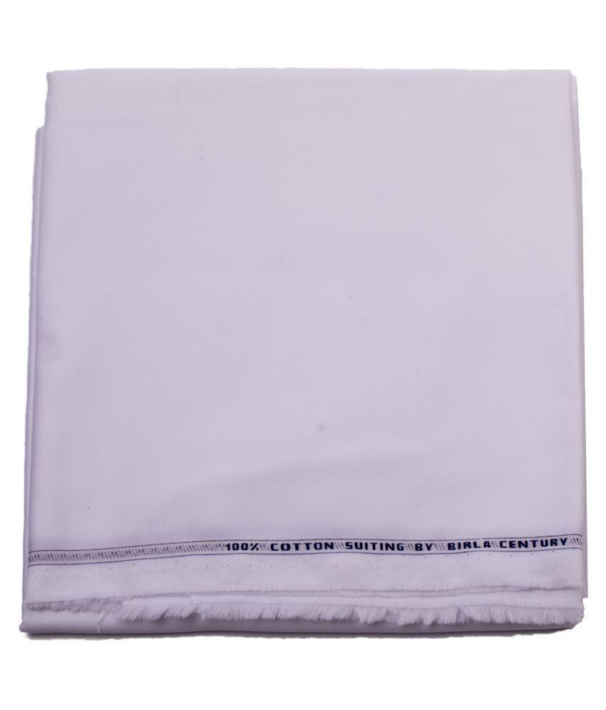 M Maharaja White 100 Percent Cotton Unstitched Pant Pc