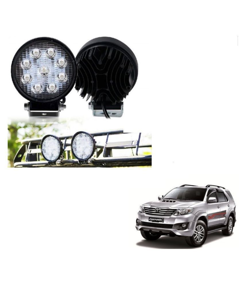 Auto Addict DEVICE 4 inch, 9 LED 27Watt Round Fog Light with Flood Beam Auxiliary Lamp Set Of 2 Pcs For Toyota Fortuner