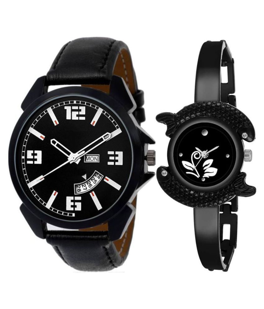 Selveen enteprise Black Dial Day & date Fancy Couple Watch For New Lovers DR006