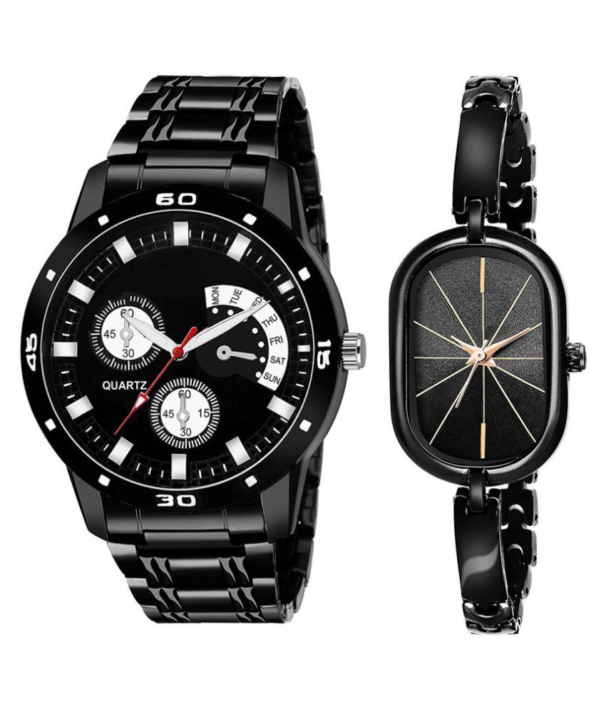 Selveen enteprise Black Dial Fancy Couple Watch For New Lovers DR087