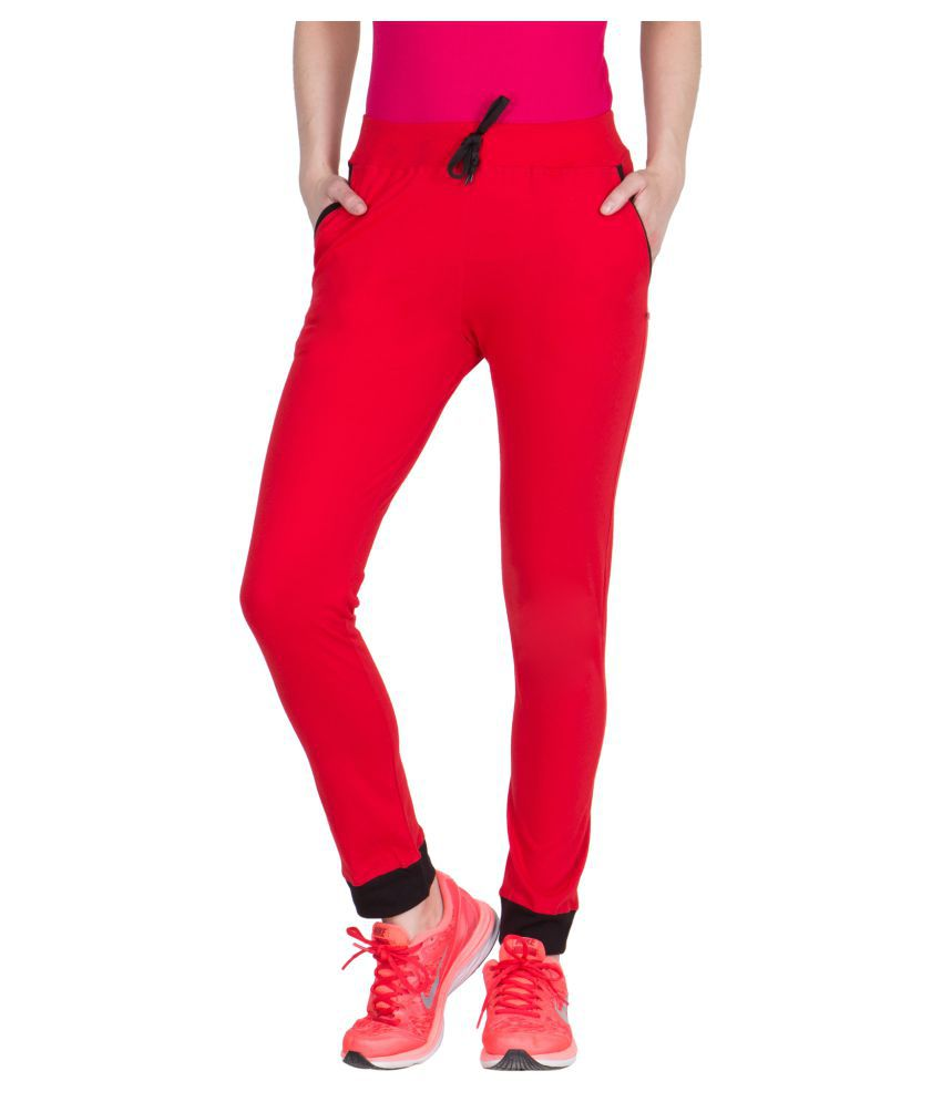 American-Elm Red Cotton Lycra Solid Tights