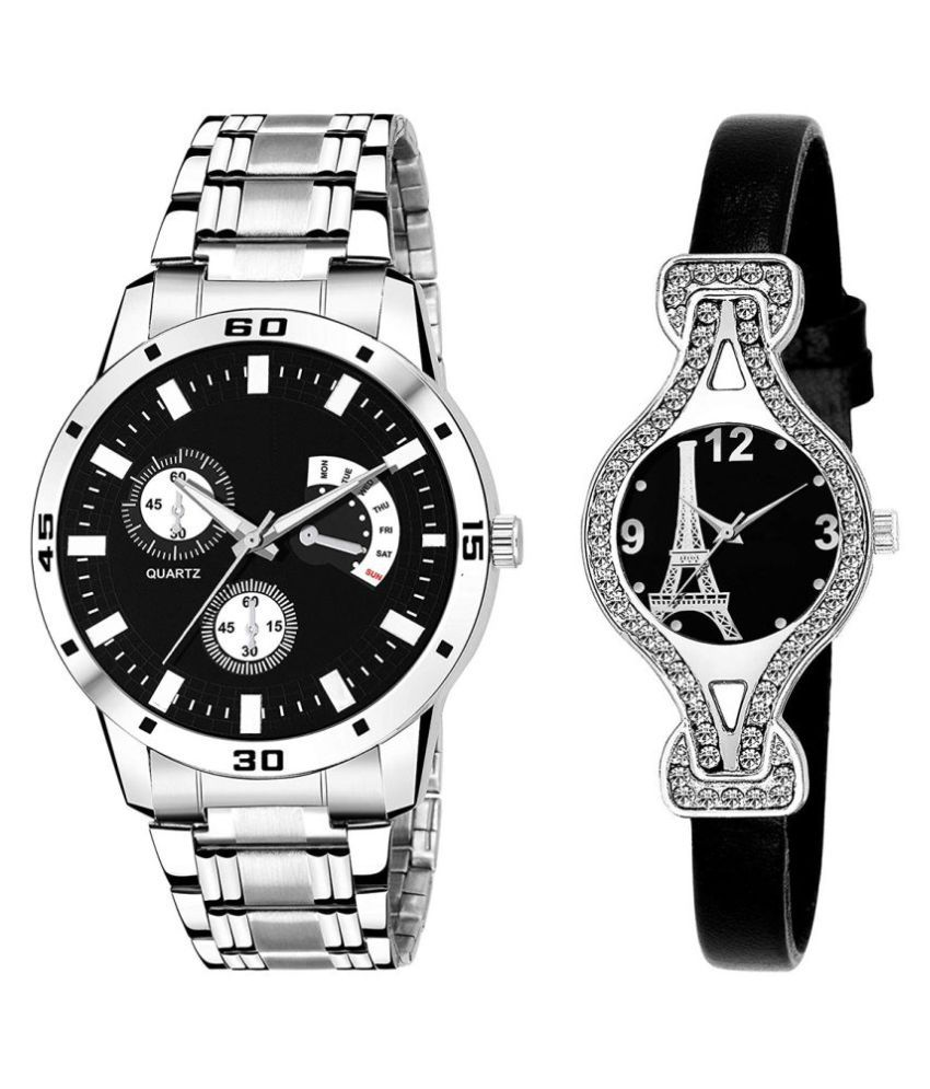 Selveen enteprise Black Dial Fancy Couple Watch For New Lovers DR078
