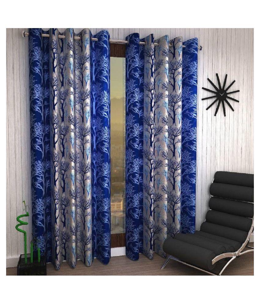Tanishka Fabs Set of 2 Door Semi-Transparent Eyelet Polyester Curtains Blue