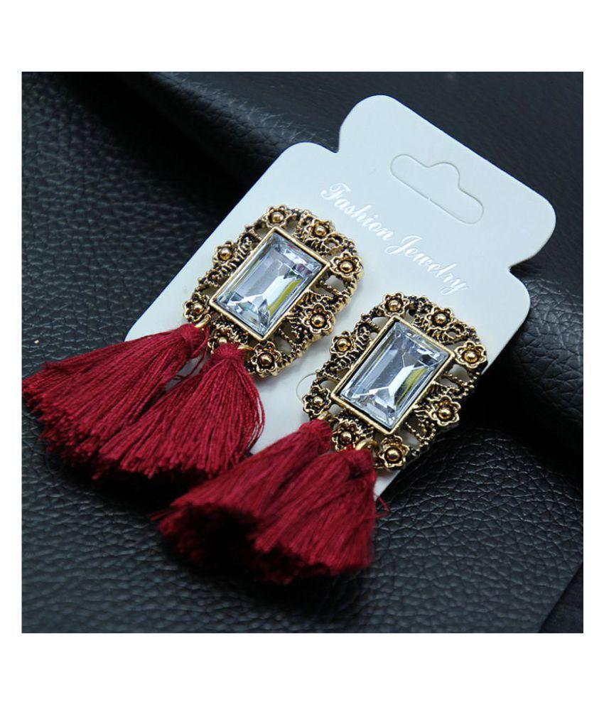 Jewels Galaxy Limited Edition Crystal Geometric Plushy Thread Tassel Earrings For Women/Girls