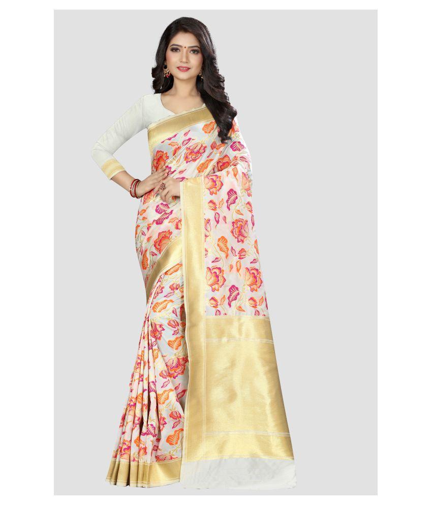 Sharaa Ethnica White Kanchipuram Saree