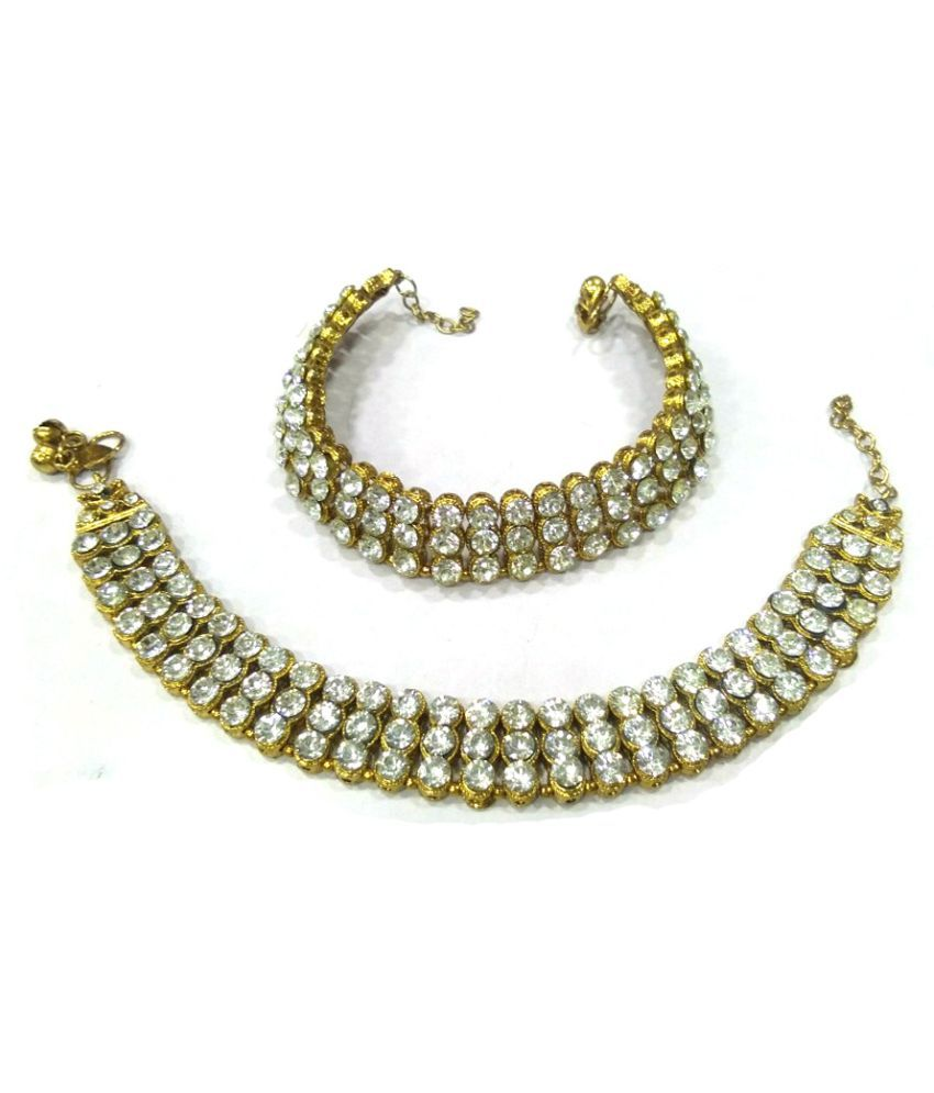 WONDER CHOICE Kundan Style Crystal Stone Traditional Gold Plated Anklet Payal Wedding Pajeb for Women and Girls