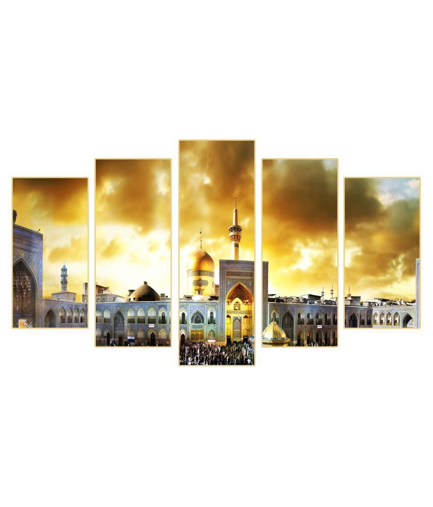 Rahman's Design & Shines Rahman's Design & Shines (Full View of Shirne ) set of 5 Frames MDF MDF Painting With Frame