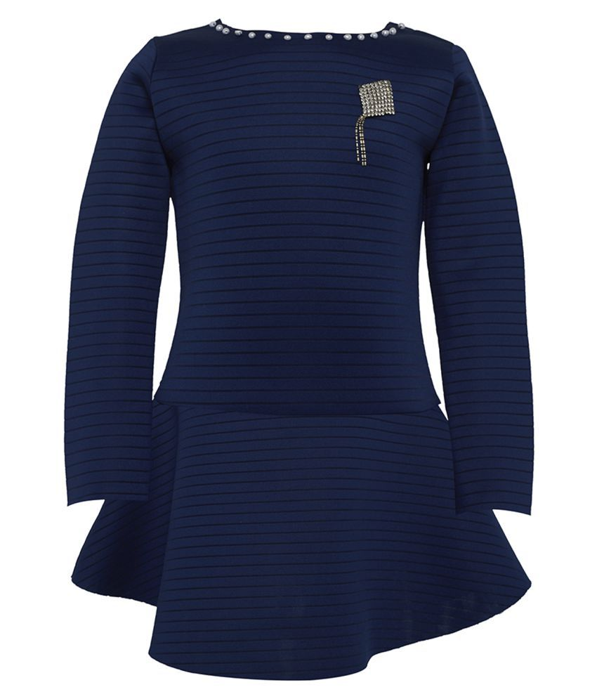 Tales & Stories Girls Navy Blue Striped Fit and Flare Dress