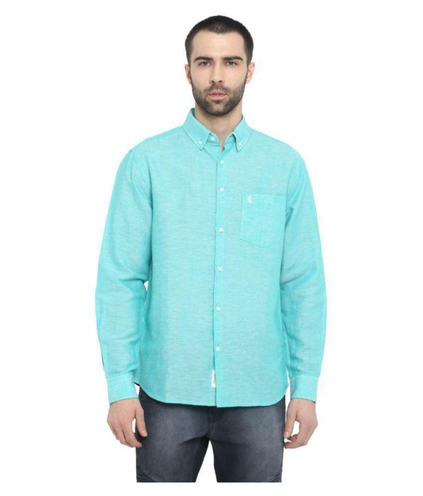 Red Tape Cotton Blend Green Solids Shirt