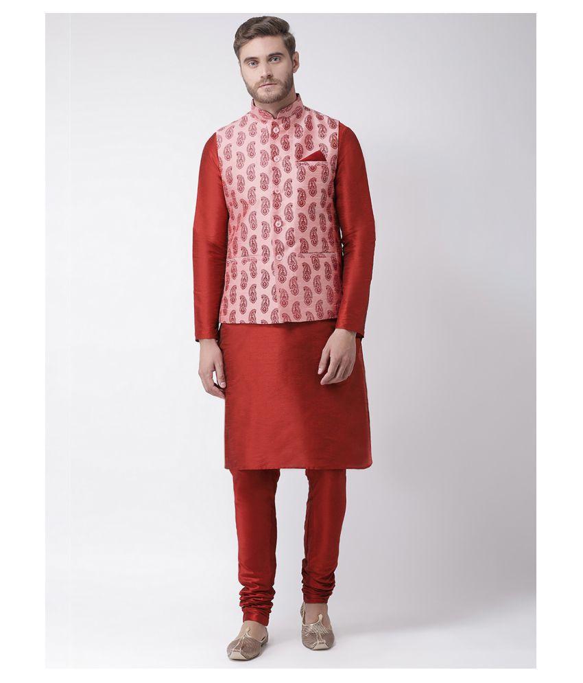 Deyann Peach Silk Blend Kurta Pyjama Set