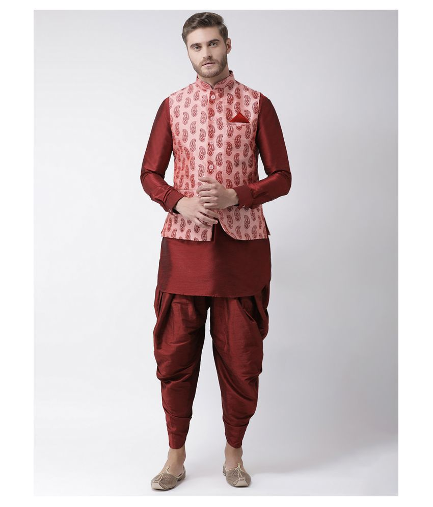 Deyann Peach Silk Blend Kurta Pyjama Set