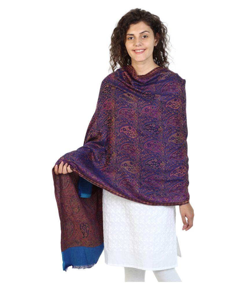 Anekaant Purple Floral Shawl