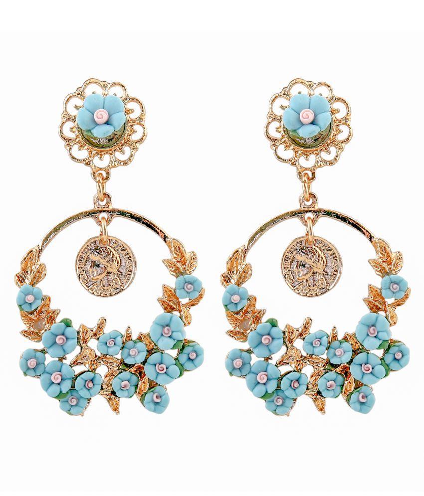 Mizorri Gold Plated Blue Flower Vintage Dangle Earrings for Women