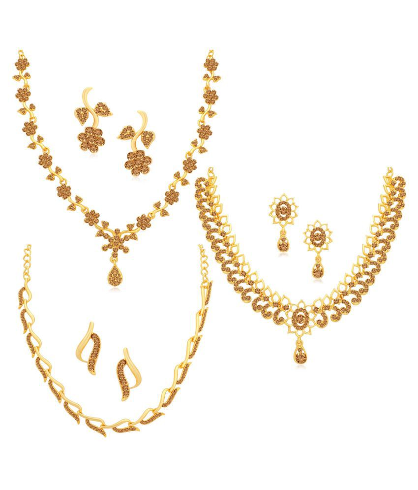 Sukkhi Alloy Yellow Collar Traditional 18kt Gold Plated Necklace set Combo